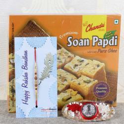Mini Thali with Soan Papdi and Designer Beads Rakhi-USA
