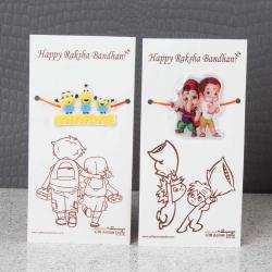 Minions Character with Bal Ganesha Hanuman Rakhi for Kids