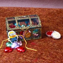 Minions Rakhi with Heart Shape Chocolete in Treasure