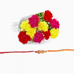 Mix Carnation Bouquet with Rakhi