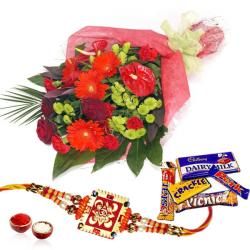 Mix Chocolates with Flowers and Rakhi