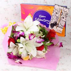 Mix Exotic Bouquet with Cadbury Celebration Chocolate and Rakhi