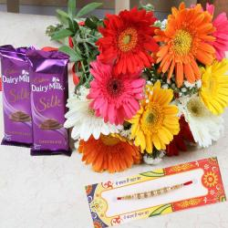 Mix Gerberas Bouquet with Chocolate and Rakhi