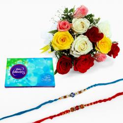 Mix Roses and Chocolate with Set of Two Rakhi