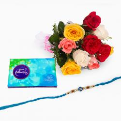 Mix Roses Bouquet with Celebration Pack and Rakhi