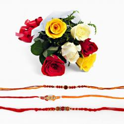 Mix Roses Bouquet with Set of Three Rakhi