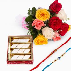 Mix Roses Bouquet with Sweets and Set of Two Rakhis