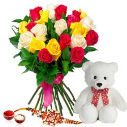 Mix Roses Bouquet with Teddy Bear and Rakhi