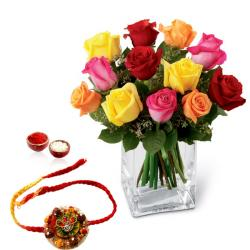 Mix Roses Glass Vase and Rakhi
