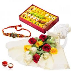 Mix Roses With Assorted Sweets and Rakhi