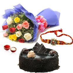 Mix Roses with Chocolate Cake and Rakhi