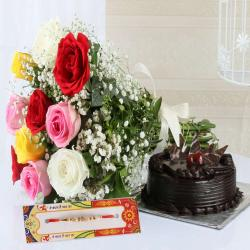 Mix Roses with Rakhi and Chocolate Cake Same Day Delivery