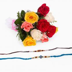 Mix Roses with Set of Two Rakhi