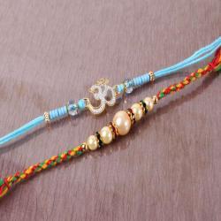 Om and Pearl Beads Rakhi Set