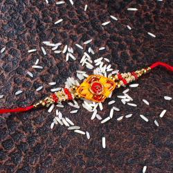 Om Stylish Golden Beads Rakhi