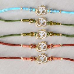 Pack of Five Crystal Beads with Om Rakhi