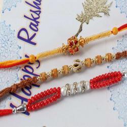 Pair of Three Studded Beads Rakhi Combo