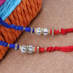 Pair of Two Silver Shiny and Colorful Beads Rakhi
