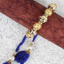 Pearl and Golden Beads Lumba Kada for Bhabhi