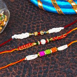 Pearl and Zardosi Rakhi Combo