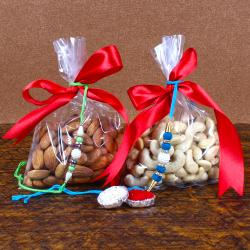 Pearl Beads Rakhi with Kaju and Badam Dry Fruits