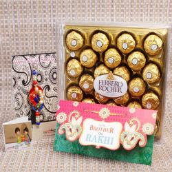 Pearl Beads Zardosi Rakhi with Ferrero Rocher Chocolate and Card