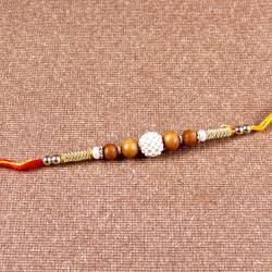 Pearl Rhinestone Beads with wooden Beads Rakhi