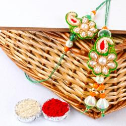 Pearls and Zari Work Bhaiya Bhabhi Rakhi