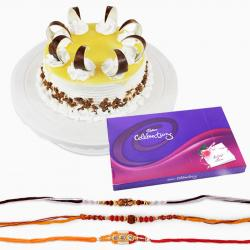 Pineapple Cake with Rakhi and Cadbury Celebartion Chocolate Pack