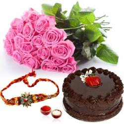 Pink Roses and Chocolate Cake with Rakhi