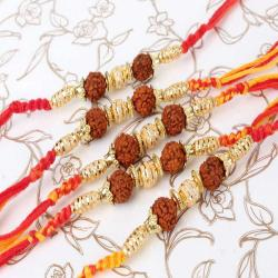 Premium Set of Five Golden Beads with Rudraksha Rakhi