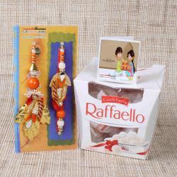 Raffaello Chocolate with Leaf Design Bhaiya Bhabhi Rakhi