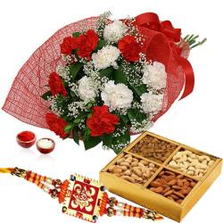 Rakhi and 500 Gms Dry Fruits with Bunch of Carnations
