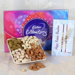 Rakhi and 500 Gms Dry Fruits with Cadbury Celebration Chocolate