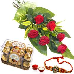 Rakhi and 6 Red Roses with Ferrero Chocolate Box