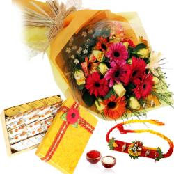 Rakhi and Bouquet of Flowers with Kaju Sweets