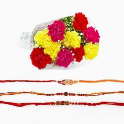 Rakhi and Carnation Combo