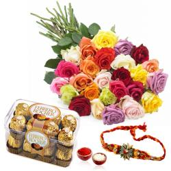 Rakhi and Ferrero Rocher Chocolates with Roses