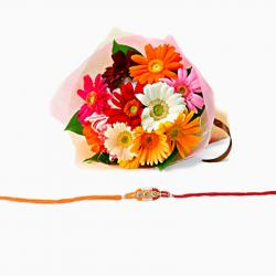 Rakhi and Gerberas Bouquet