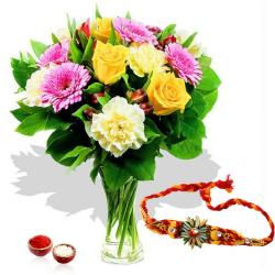 Rakhi and Mix Flowers Glass vase