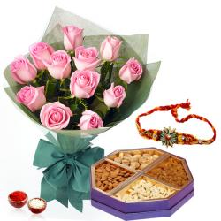 Rakhi and One Kg Dry Fruits with Roses Bunch