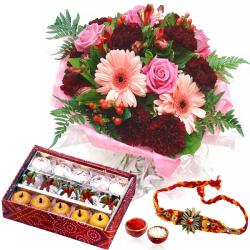 Rakhi Combo of Mix Flowers and Sweets