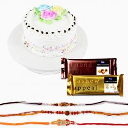 Rakhi Combo with Cake and Temptation Chocolates