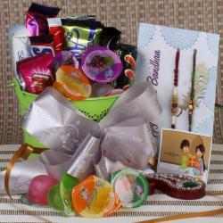 Rakhi Gift Basket of Mix Fruit Jelly Chocolates