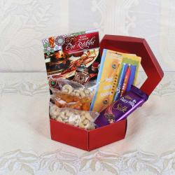 Rakhi Gift Box of Cashew Nuts and Cadbury Dairy Milk Silk Chocolate