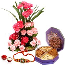 Rakhi Gift of Dry fruits and Carnations