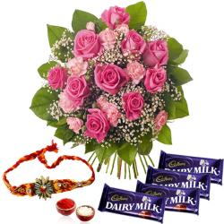 Rakhi Gift of Pink Flowers with Cadbury Dairy Milk