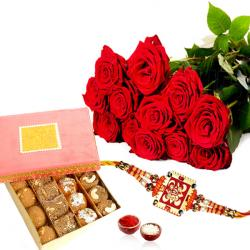Rakhi Gift Pack of Roses with Assorted Sweet