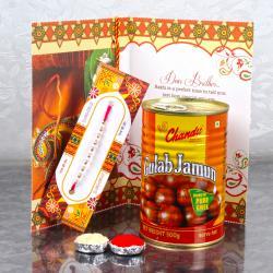 Rakhi Sweet Hamper of Gulab Jamun and Rakhi Greeting Card