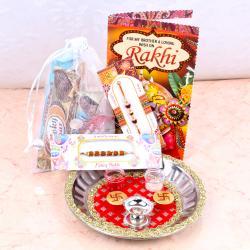 Rakhi Thali and 5 Imported Chocolates with Free Rakhi Card
